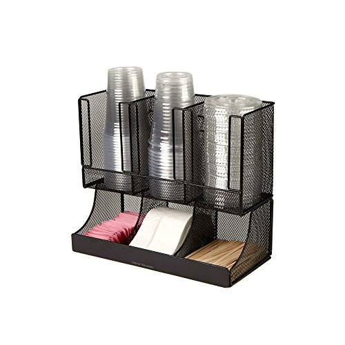 Mind Reader 6 Compartment Upright Breakroom Coffee Condiment and Cup Storage Organizer, Black Metal (Black Mesh Coffee Table)