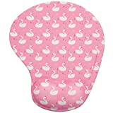 EXCO Mouse Pad with Wrist Rest Support Gel Cushion,Pu Non-Slip Base Suitable for Office Working Supply (Pink swan)