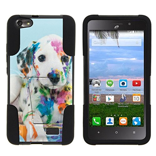MINITUTLE Compatible with Huawei Raven LTE [Strike Impact] Hybrid Dual Layer Case w/Stand Cute Animal Series Colorful Puppy