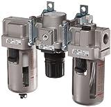 "SMC AC Series 3 Piece Filter/Regulator/Lubricator, 3/8"" BSPT, 5 Micron, Manual Drain, 25 cubic cm Drain Capacity, No Gauge"