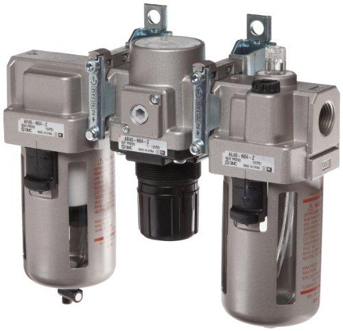 Smc Regulator - SMC AC Series 3 Piece Filter/Regulator/Lubricator, 1/2