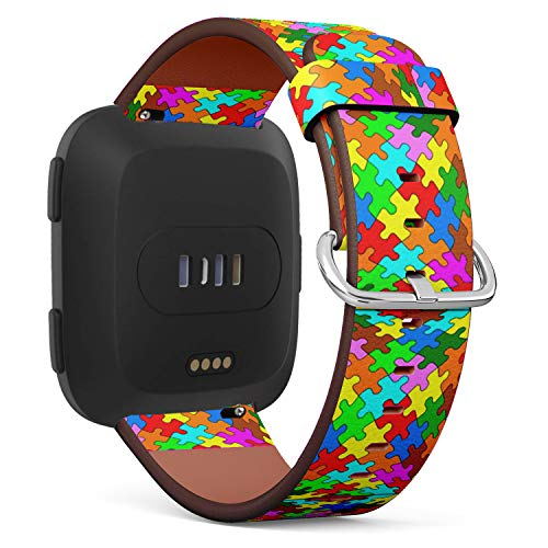 Compatible with Fitbit Versa - Quick-Release Leather Band Bracelet Strap Wristband Replacement - Jigsaw Puzzle