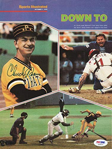 Gary Carter, Dave Parker, Tim McCarver & Chuck Tanner Autographed Magazine Page Photo #S39157 PSA/DNA Certified