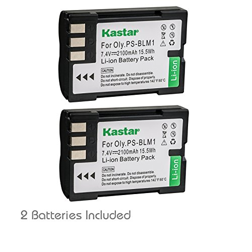 Kastar Battery (2-Pack) for Olympus BLM-1, BLM-01, PS-BLM1 work for Olympus C-5060, C-7070, C-8080, E-1, E-3, E-30, E-520, EVOLT E-300, E-330, E-500, E-510 Cameras
