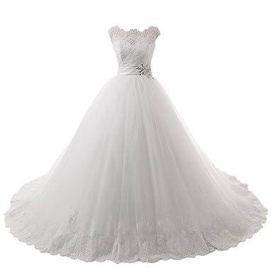 Prom Style Prinzessin Weiss Armlos Tuell Abendkleider Brautkleider ...