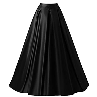 71520fc5ccfb Omelas Womens Long Maxi Pleated Skirts High Waisted A-line Swing Party  Skirt Dress Black