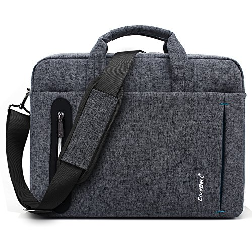 CoolBELL 15.6 inch Laptop Bag Messenger Bag Hand Bag Multi-compartment Briefcase Oxford Nylon Shoulder Bag For Laptop / Ultrabook / HP / Acer / Macbook / Asus / Lenovo / Men/Women (New Grey)
