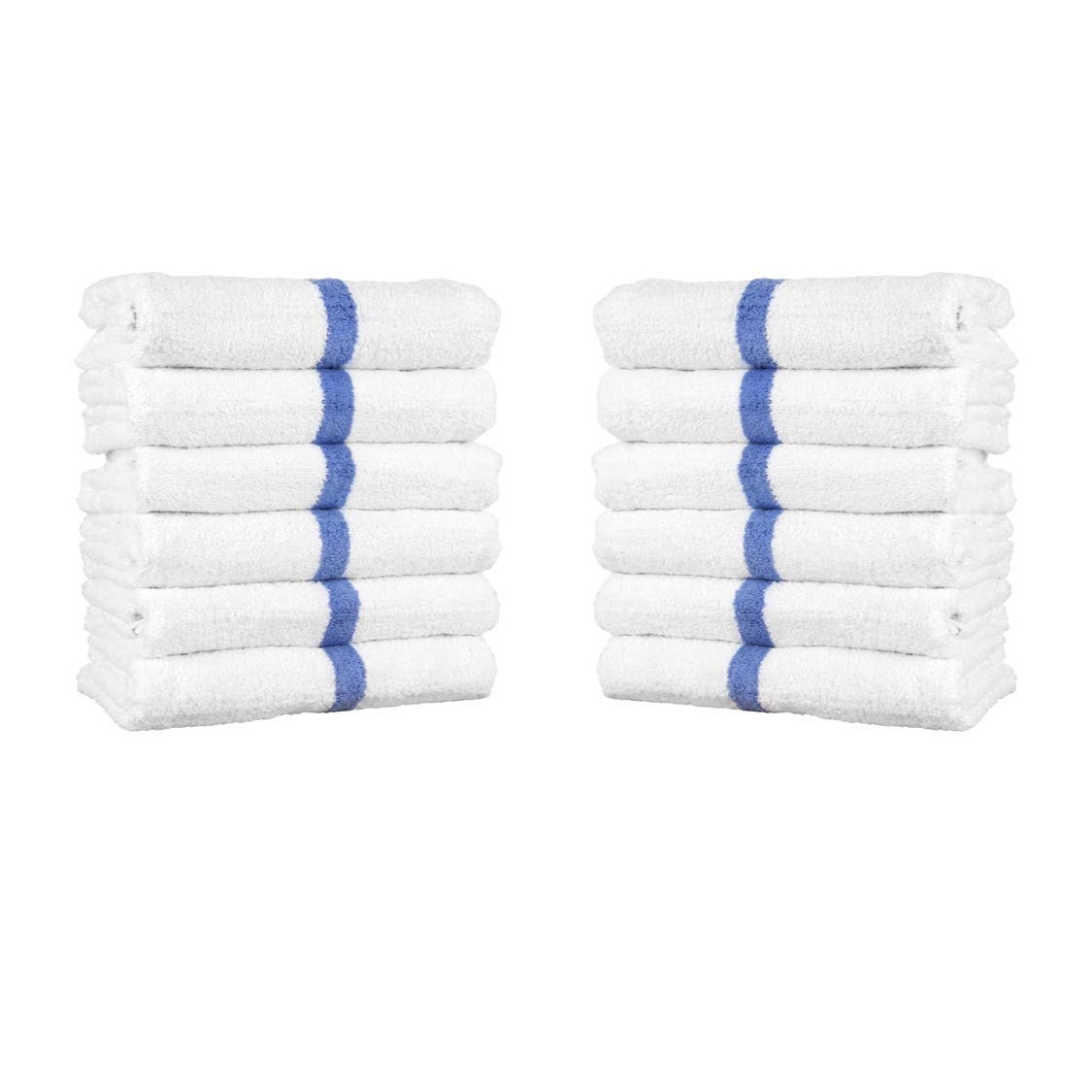 Arkwright White Cotton Bath Towels with Blue Center Stripes, Pack of 12 Absorbent Pool Towel for Hotel, Spa, Gym (22 x 44 Inch)