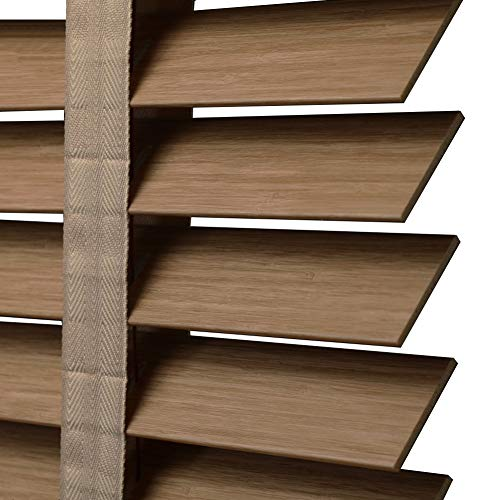 WENZHE Louver Window Roller Blind Bamboo Curtain Blinds Waterproof Oil-Proof Shading PVC Wood Grain Widening Ladder Home Office, 3 Colors, Size Customizable (Color : Light Oak, Size : 60x160cm) (Light Oak Ladder)