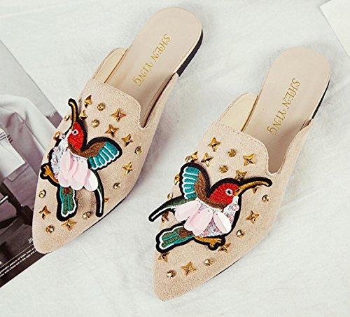WSK white da fashion da da donna rivetti con baotou donna Sandali scarpe e donna piccole studenti Birds sandali sexy sexy e Sandali con con pantofole con rwqBgCrt4