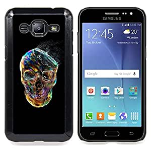 - Smoke Skull Vibrant Colorful Black - - Snap-On Rugged Hard Cover Case Funny HouseFOR Samsung Galaxy J2