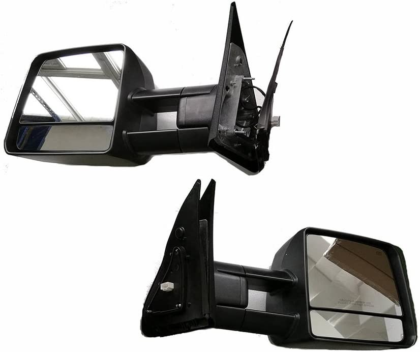 LONGKEES Power Heated Smoke LED Signal Lamp Blk Towing Mirrors Fit 2007-2018 Toyota Tundra
