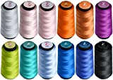 Colored Bird Bundle of 12 Color Large 1500 Yard Spools of 50wt Mercerized Long-staple Cotton sewing Thread, Great for Serger,Sewing,Quilting,Overlock (797,995,415,970,842,433,310,907,552,3849,963,809)