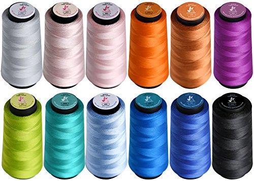 Colored Bird Bundle of 12 Color Large 1500 Yard Spools of 50wt Mercerized Long-staple Cotton sewing Thread, Great for Serger,Sewing,Quilting,Overlock (797,995,415,970,842,433,310,907,552,3849,963,809) -