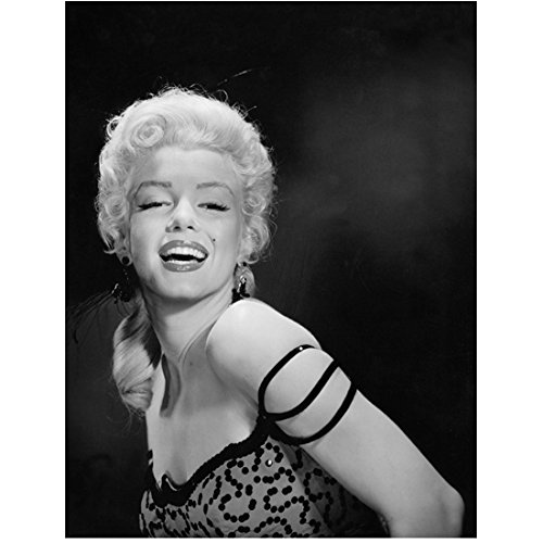 Marilyn Monroe 8x10 Photo Some Like It Hot The Seven Year Itch Gentlemen Prefer Blondes B&W Dress Feathery Head Dress Three Straps on Left Arm kn]()