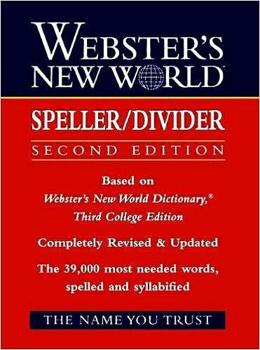 Book Webster's New World Speller/Divider (Reference (General))