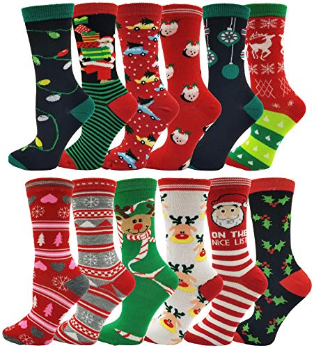 Womens Christmas Socks, 12 Pairs, Holiday Xmas Gift, Novelty Colorful Patterns (12 Pairs Assorted Crew Socks)