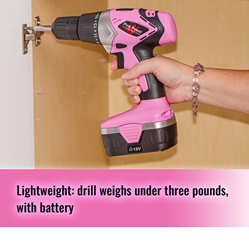 Pink Power Drill 18V Cordless Electric Driver Women - Tool Case, 18 Volt Drill, Charger 2 Batteries