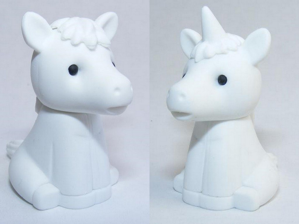 Iwako White horse and Unicorn Erasers (2 pieces) from Japan
