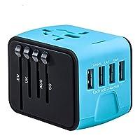 EMMA's - Adaptador de Viaje 4 Puertos USB con Conector para América, Europa, Reino Unido y Australia (+160 Países)
