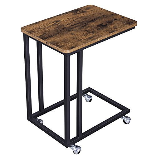 Side End Wood Table - SONGMICS Vintage Snack Side Table, Mobile End Table for Coffee Laptop Tablet, Slides next to Sofa Couch, Wood Look Accent Furniture with Metal Frame and Rolling Casters ULNT50X