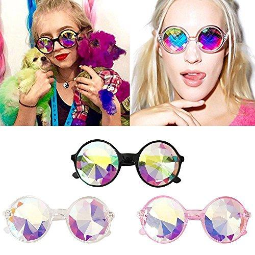 lente TiooDre Prisma Cristal Difracci¨n Festival de de redondas gafas iris Caleidoscopio la Negro arco del qrHSgqpC6