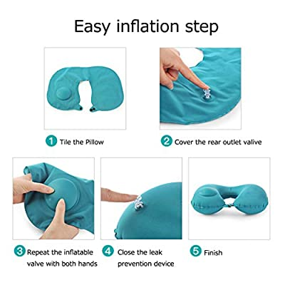 Travel Pillow,Small Neck Pillow Inflatable Neck Support Pillow for Airplanes Cars Trains Camping Trips 3 Colors