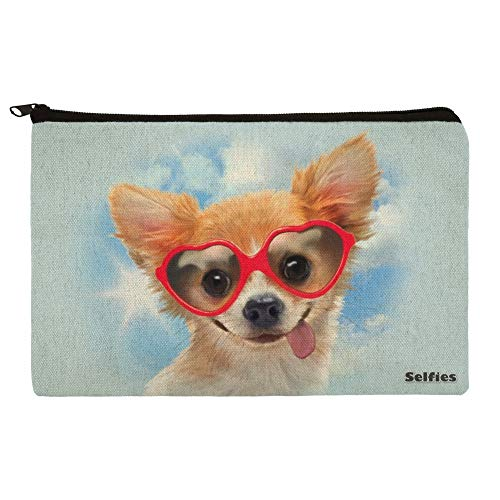 Chihuahua Dog Heart Glasses Selfie Makeup Cosmetic Bag Organizer Pouch