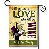 Cheap Wine Lover Personalized All You Need is Love and Wine Double-Sided Garden/House Flag