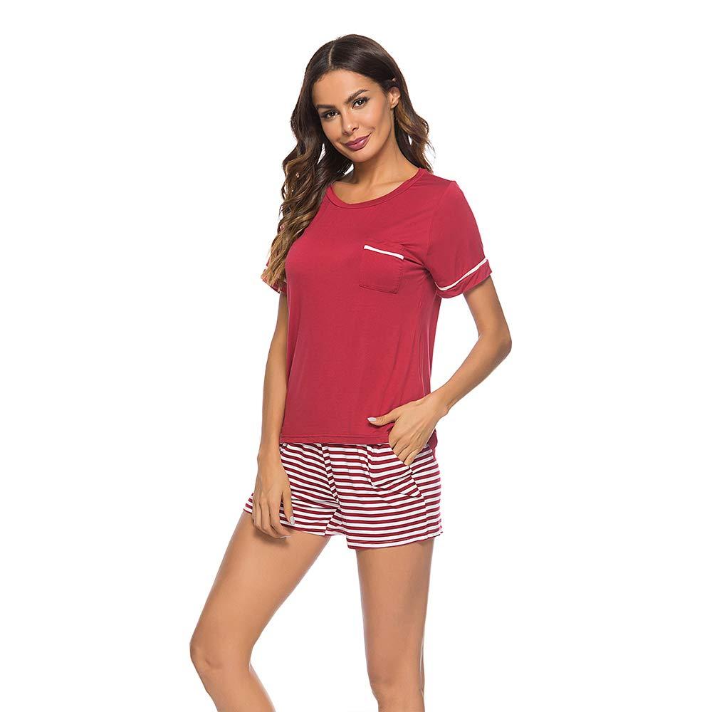 11b354401 Poseca Women's Pajamas Set Short Sleeve T Shirt and Striped Shorts  Sleepwear 2 Piece Loungewear Set at Amazon Women's Clothing store: