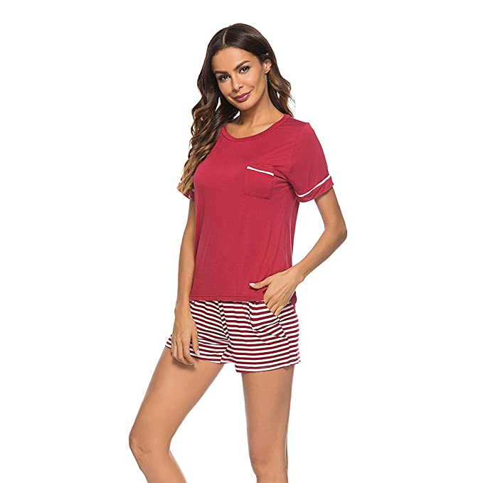 fef260f2bfb33b Poseca Women's Pajamas Set Short Sleeve T Shirt and Striped Shorts ...
