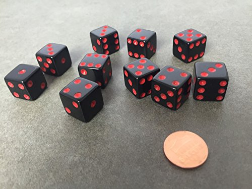 Set of 10 Six Sided D6 16mm Standard Dice Die - Black with Red Pips by JUSTMIKE'S?