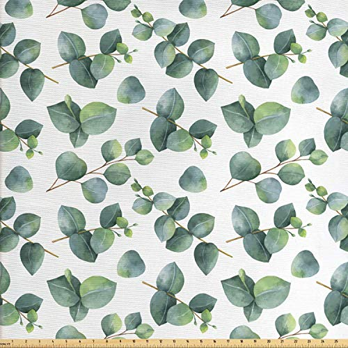(Ambesonne Leaf Fabric by The Yard, Watercolor Style Pattern with Dollar Eucalyptus Leaves and Branches, Decorative Fabric for Upholstery and Home Accents, 1 Yard, Green Pale Brown)