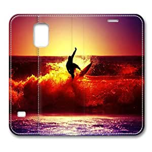 Leather Samsung Galaxy S5 Flip Case, Surfing At Sunset Ultra Slim Flip Folio Leather Case for Samsung Galaxy S5/ S V/ I9600, Original Design And Made By PhilipHayes