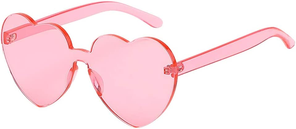 Yliquor Heart Shaped Rimless Sunglasses Transparent Candy Color Frameless Glasses Sports Fishing Driving Sun Glasses for Men//Women
