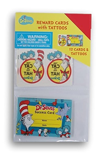 12 Dr. Seuss Cat in the Hat TATTOOS birthday party favors school success cards