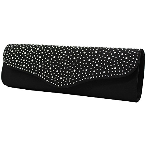 Envelope Ladies Evening Navy Clutch New Handbag Diamante Party Cckuu Black blue Bag Satin Bridal 10x5Aw