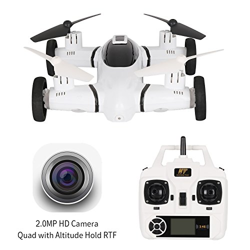 2 in 1 Flying Car Drone with 720P Camera Live Video,HT Drone Air-Ground Quadcopter with 3D Flip Camera Drone for Kids with Bonus Battery by HT Drone