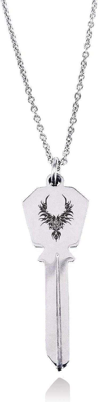 Tioneer Stainless Steel Rising Phoenix Blaze Hexagon Head Key Charm Pendant Necklace