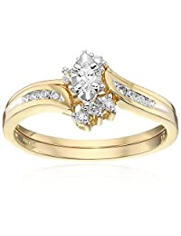 10k Yellow Gold Marquise and Round Diamond Bypass with Interlocking Band Bridal Set (0.25 cttw I-J Color, I2-I3 Clarity)