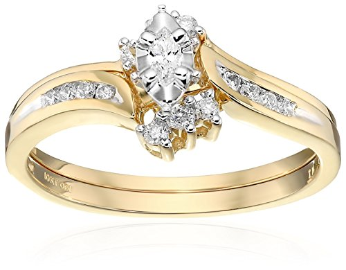 10k Yellow Gold Marquise and Round Diamond Bypass with Interlocking Band Bridal Set (0.25 cttw I-J Color, I2-I3 Clarity), Size 6 by Amazon Collection