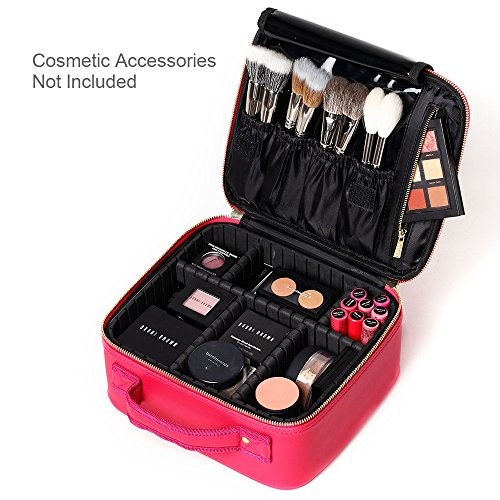 [Gifts for women] ROWNYEON PU Leather Makeup Case Mini Makeup Bag Portable Travel Makeup Bag EVA Makeup Train Case Best Gift For Girl (Pink Small)