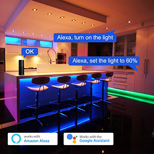 Smart LED Strip Lights, RGB LED Strip Lights 32.8ft WiFi LED Light Strips Music Sync Works with Alexa, Google Assistant, Waterproof Color Changing Light Strips Phone App Control for Bedroom Home