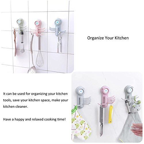 Suction Cup Hooks, E-BAYKER Powerful Vacuum 6 in 1 Holder Utility Hooks Home Kitchen Bathroom Wall Removable Hanger Organizer for Towel Bathrobe Loofah Cloth Key Women's Handbag (3 Pack) by E-BAYKER (Image #3)