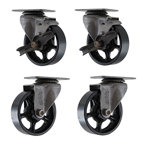 """(Set of 4) 4"""" X 1.25"""" CC Vintage Casters - 2 Swivel and 2 Swivel with Brakes"""
