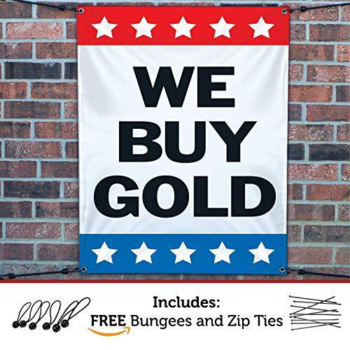 HALF PRICE BANNERS | We Buy Gold Vinyl Banner -Indoor/Outdoor 5X3 Foot -Stars | Includes Ball Bungees & Zip Ties | Easy Hang Sign-Made in USA