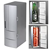 Lsgoodcare Mini USB Powered Set Cooling And Heating Functions Fridge For Beverage Drink Cans in Cubicle Car Home office-Sliver