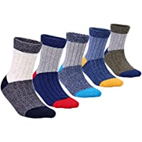 Boys Cotton Atheletic Socks Crew Seamless Socks for Kids 5 Pack