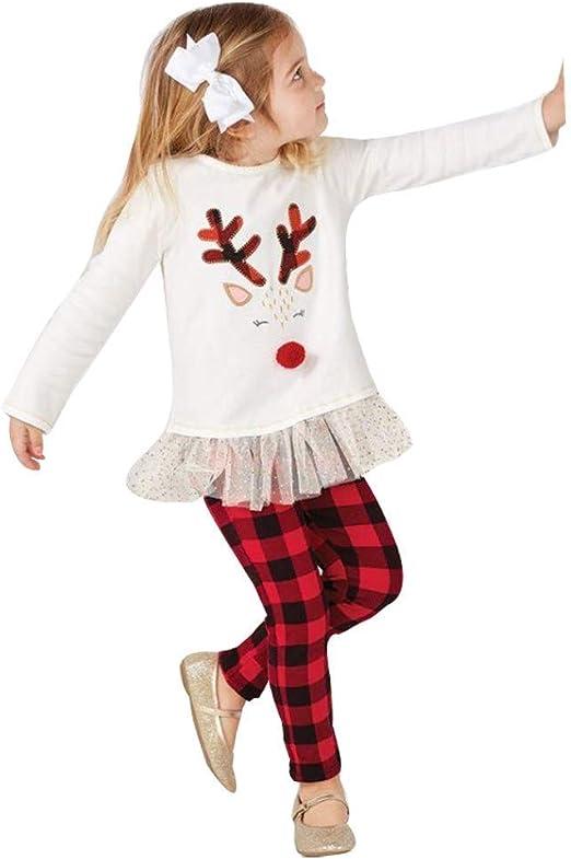 fuxitoggo Toddler Baby Christmas Outfits, Tops informal diseño impreso Mignon Diseño + pantalón de cuadros définit