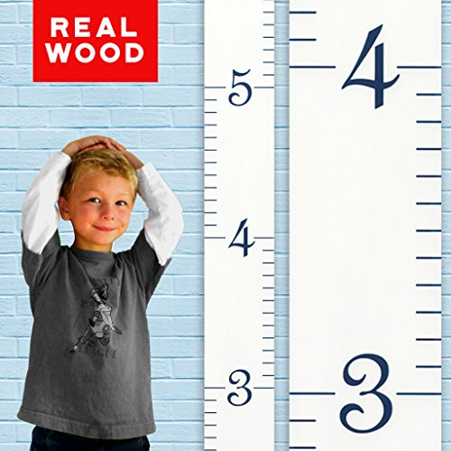 Growth Chart Art | Wooden Growth Chart Ruler for Boys + Girls | Kids Growth Chart Wood | Measuring Kids Height Wall Décor | White Ruler with Navy Numerals (Chart Autumn)
